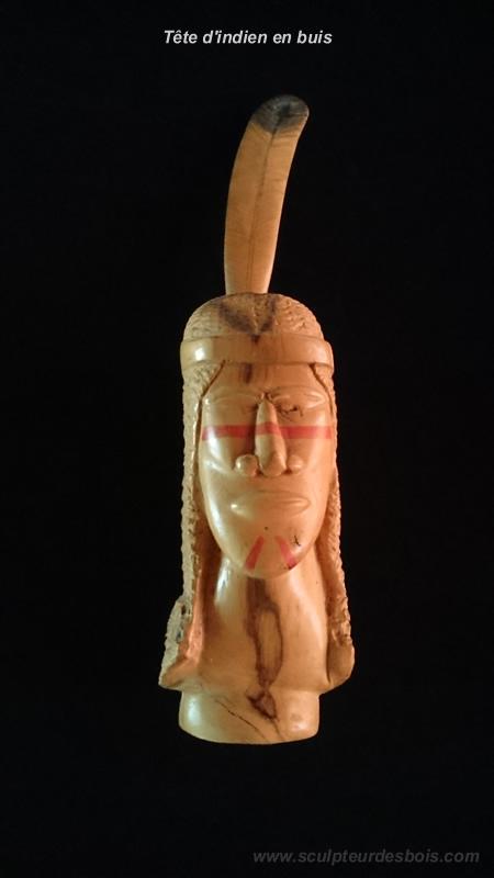 Tête d'indien en buis - vernis + encre (face)