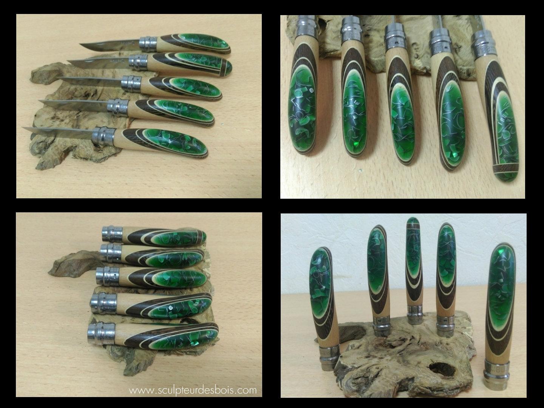 opinels n°8 en bois de wengé, filets en charme et inclusion de copeaux de métal dans une résine translucide verte