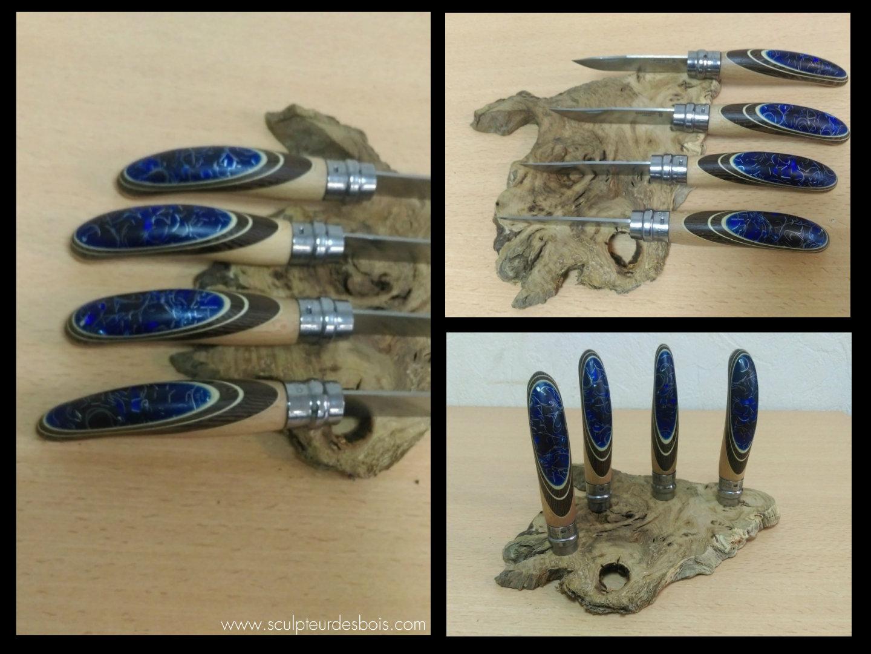 opinels n°8 en bois de wengé, filets en charme et inclusion de copeaux de métal dans une résine translucide bleue